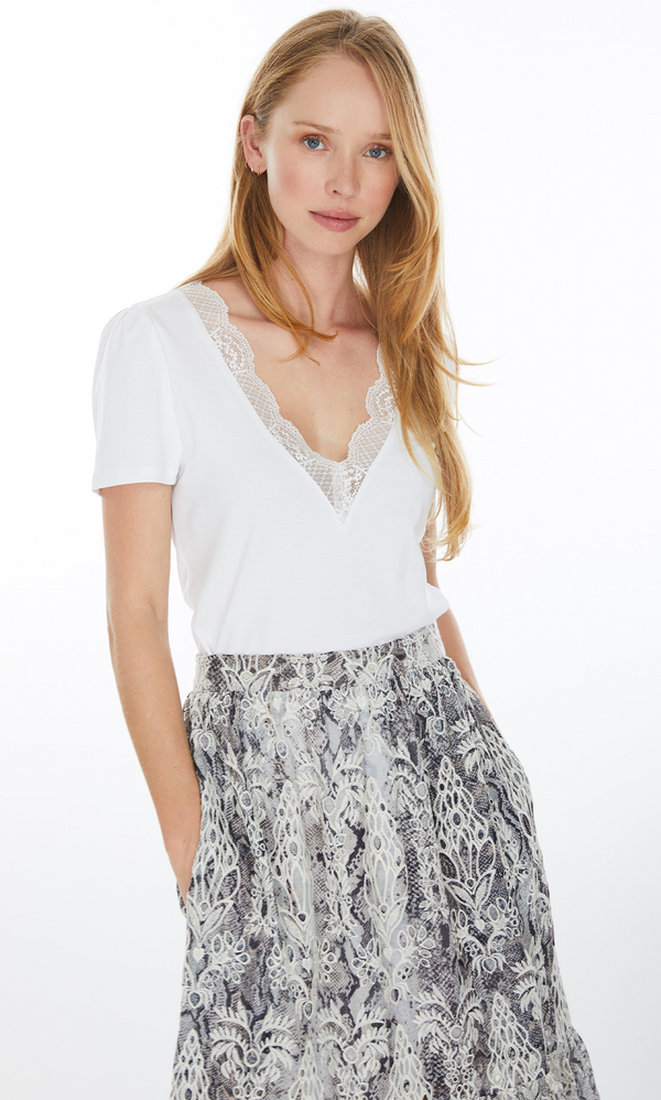 Generation Love SANTANA LACE NECK TOP - White