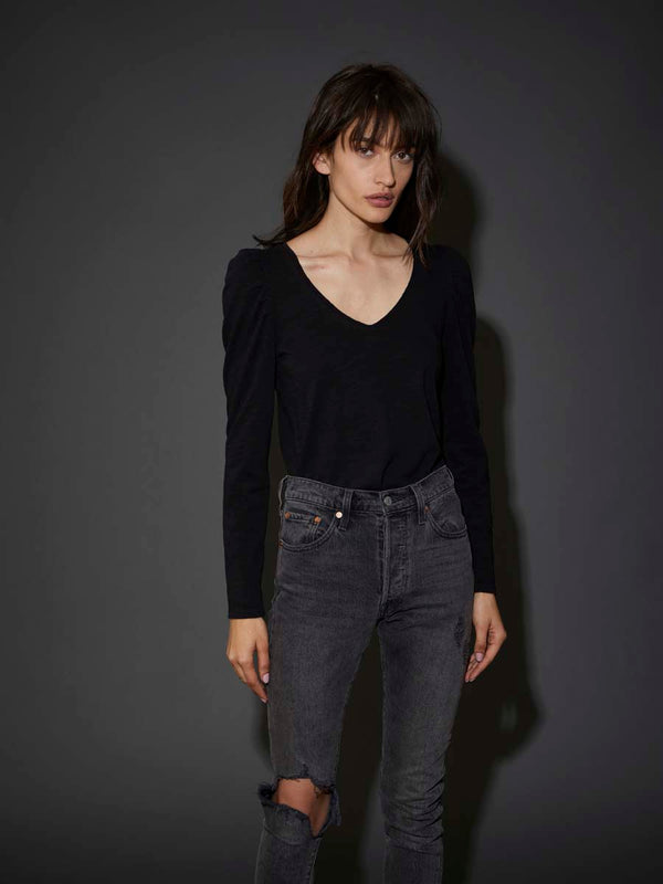 Nation LTD - Elizabeth Puff Sleeve Tee - Jet Black