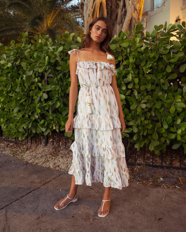 Karina Grimaldi - Lori Metallic Print Maxi Dress - White Leaf