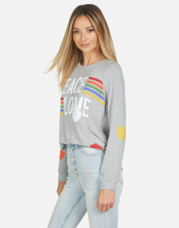 Lauren Moshi - Everly Peace Love Stripe Pullover - Heather Grey