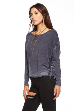 Chaser- Triblend Jersey Long Sleeve Open Neck Fringed Tee- Black
