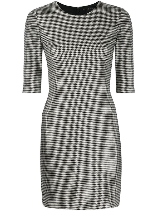 Alice + Olivia - Delora Fitted Knee Length Dress - Black/White