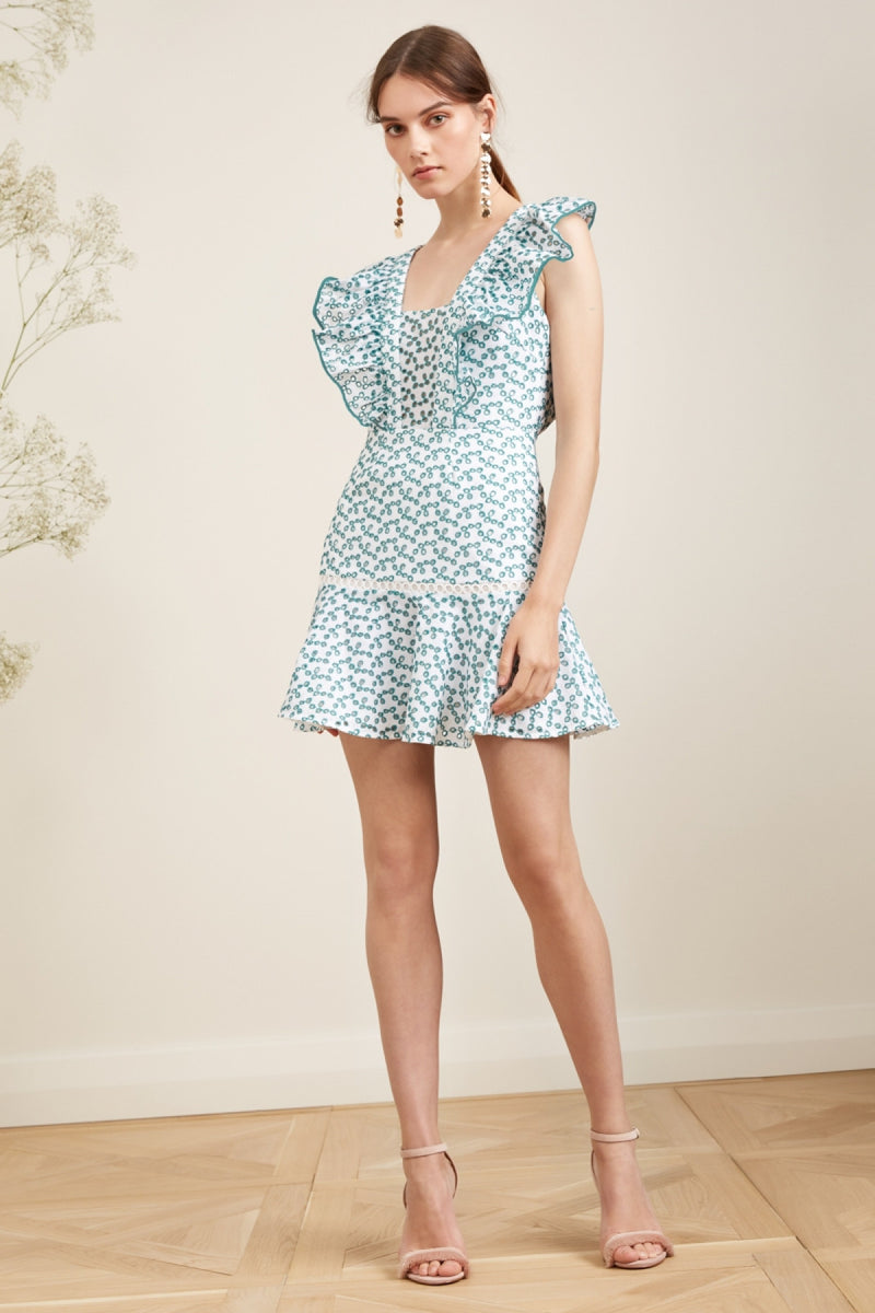 Keepsake - Blossom Mini Dress - Ivory/Mint