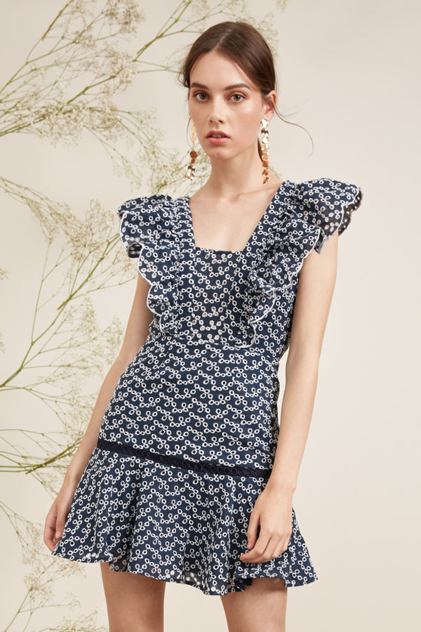 Keepsake - Blossom Mini Dress - Navy/Ivory