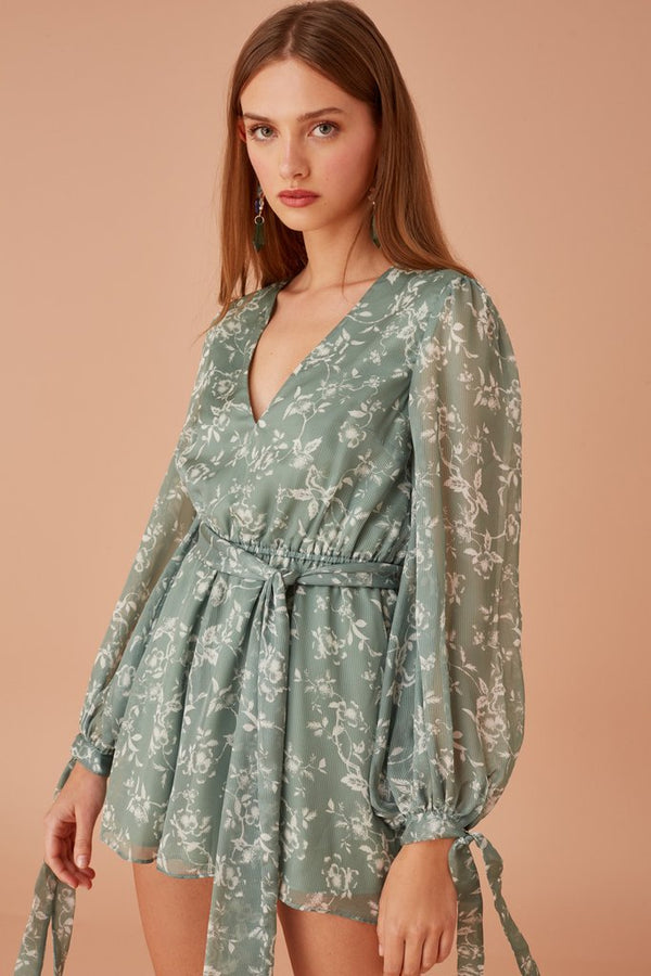 Keepsake -  Cheshire L/S Playsuit - Sage Floral