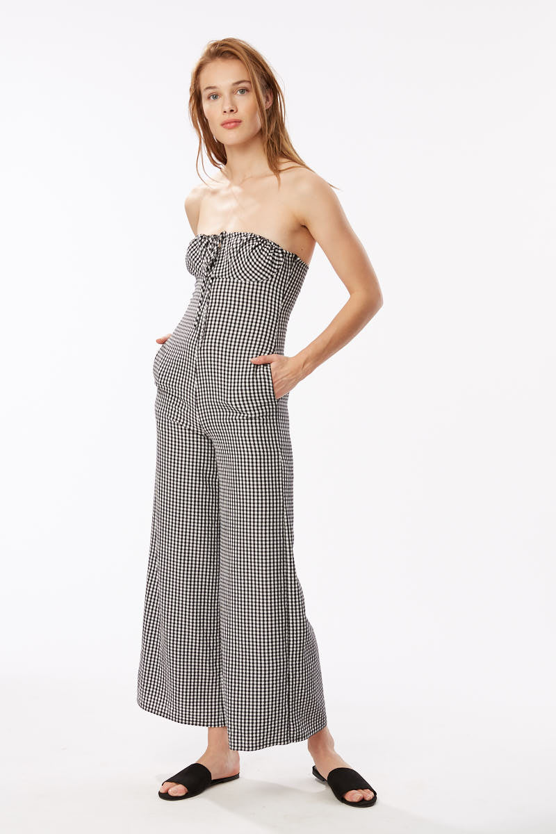 Solid & Striped - Strapless Jumpsuit - Black Gingham