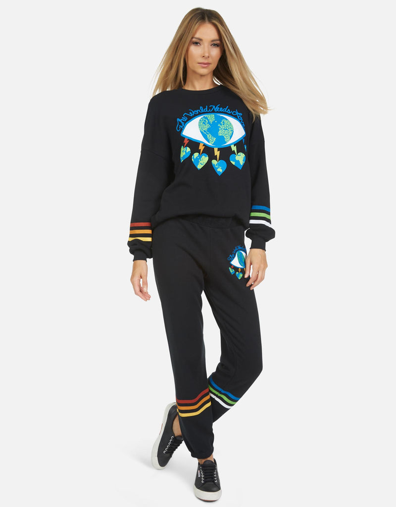 Lauren Moshi - Gia World Eye Love Sweatpant - Black