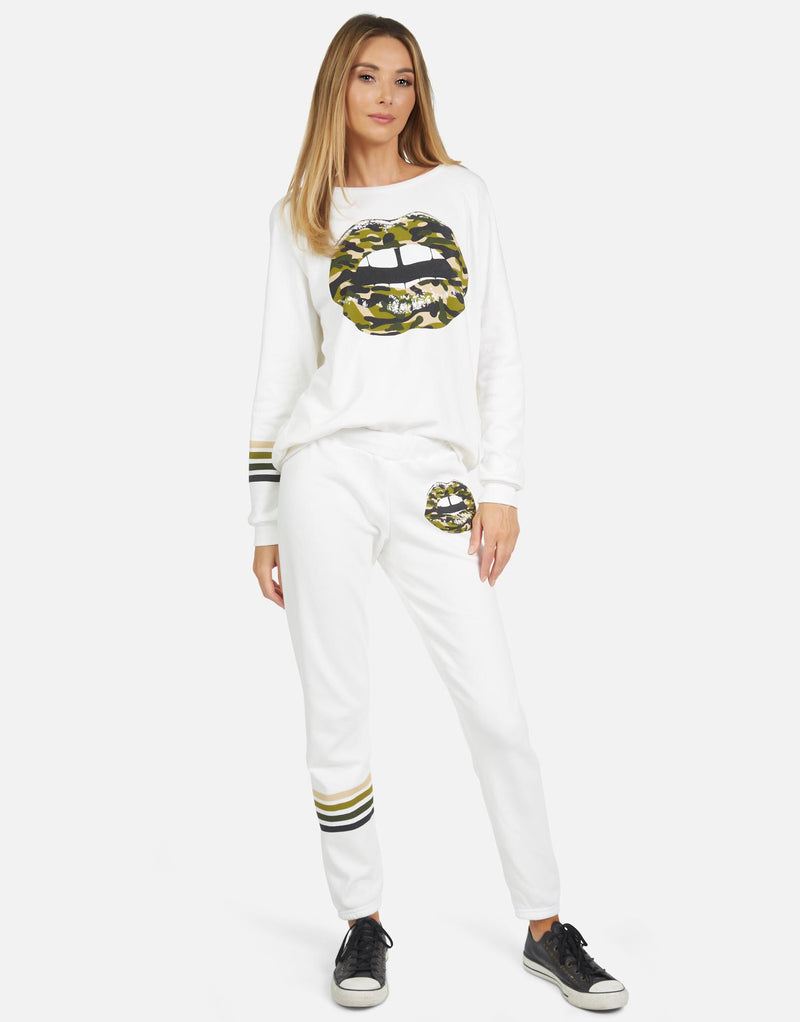 Lauren Moshi - Gia Camo Lip Sweatpant - Milk