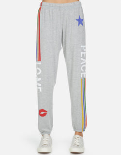Lauren Moshi - Tanzy Peace Love Stripe Pant - Heather Grey