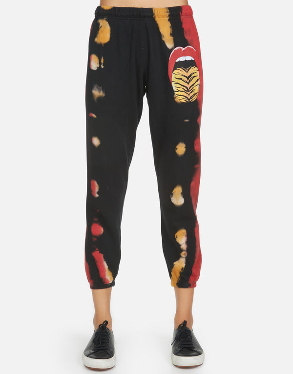 Lauren Moshi - Alana Tiger Tongue Crop Sweatpant - Fire Stripe