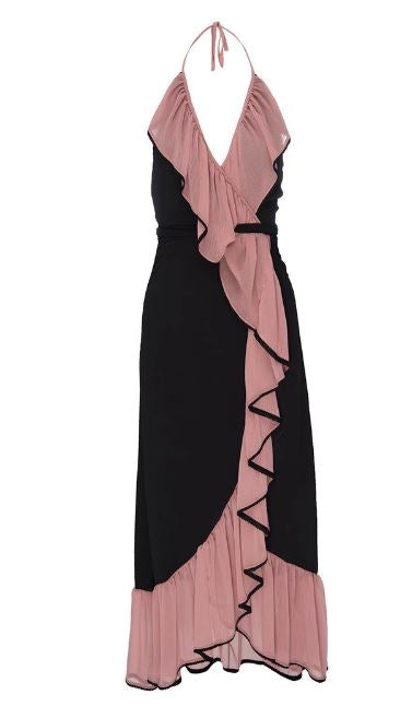 Misa - Domanik Dress - Pink/Ink Blue