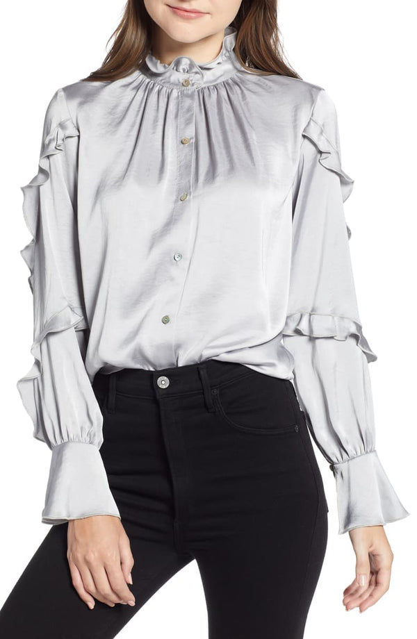 bailey 44 - baccarat satin blouse - silver