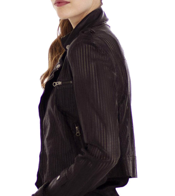 Jakett - Josey perforated leather jacket - Black