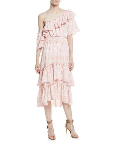 Misa - Agata Dress - Pink/White