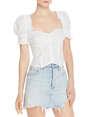 For Love & Lemons - Bleau Short Sleeve Top - White