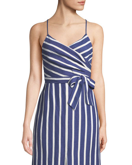 Alice + Olivia - Rayna Tie Front Cross Over Tank - Oasis Stripe