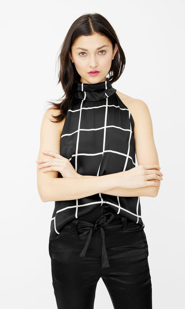 Generation Love -  Kaylee Windowpane Top- Black/White