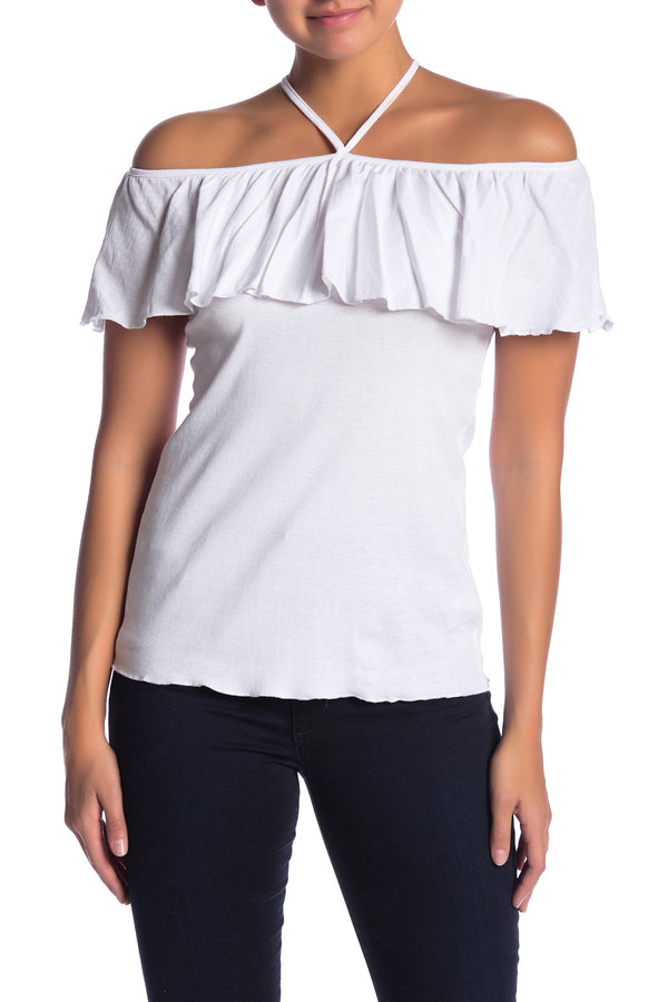Chaser - Ruffle Shoulder Top - White