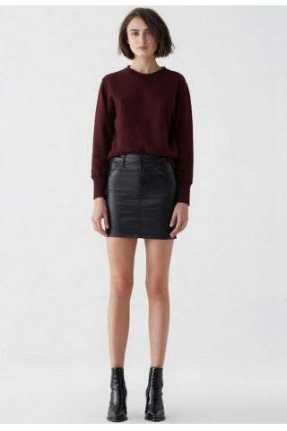 AGolde - Lydia Leatherette Mini Skirt - Black