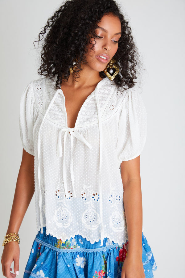 Loveshackfancy - Bronte Top - Antique White