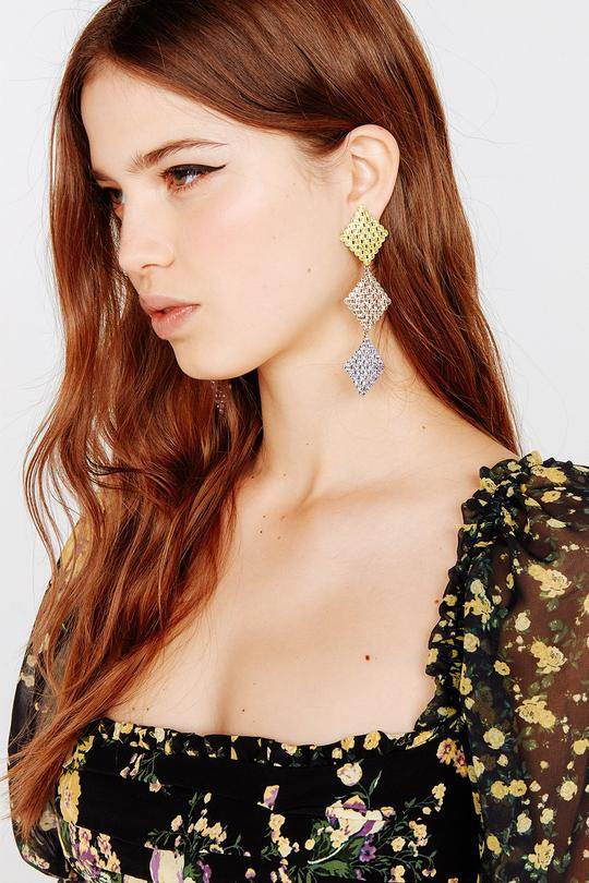 For Love & Lemons - Casbah 3 Tier Stone Earrings - Yellow Violet
