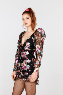 For Love & Lemons - Benatar Ruffle Mini Dress - Foil Floral