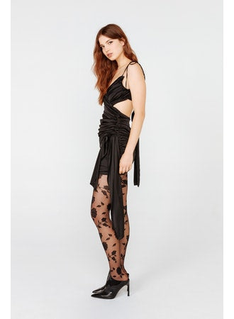For Love & Lemons - Madonna Faux Wrap Mini Dress - Black