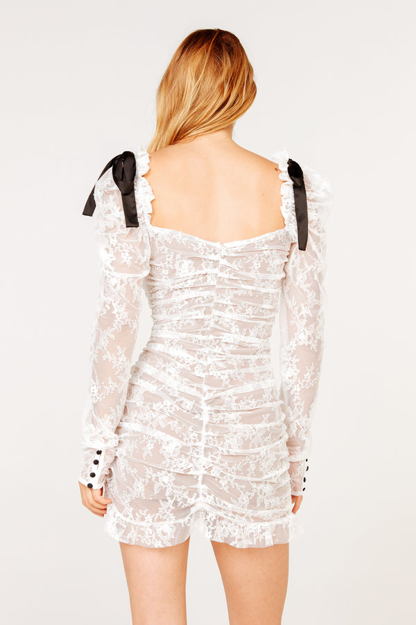 For Love & Lemons - Beverly Pleated Mini Dress - White Lace