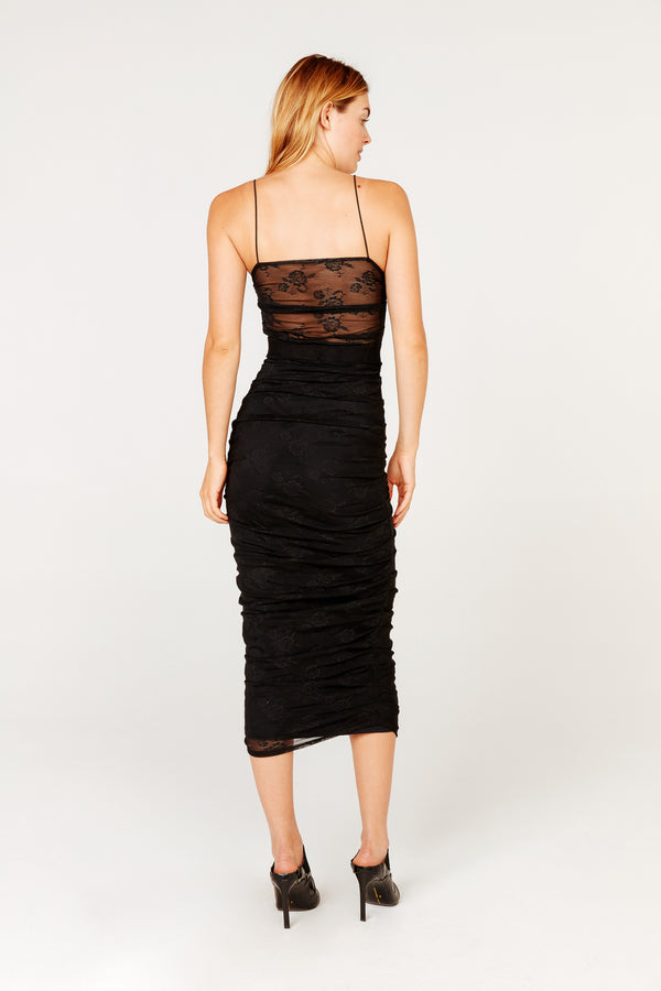 For Love & Lemons - Poison Ruched Dress - Black