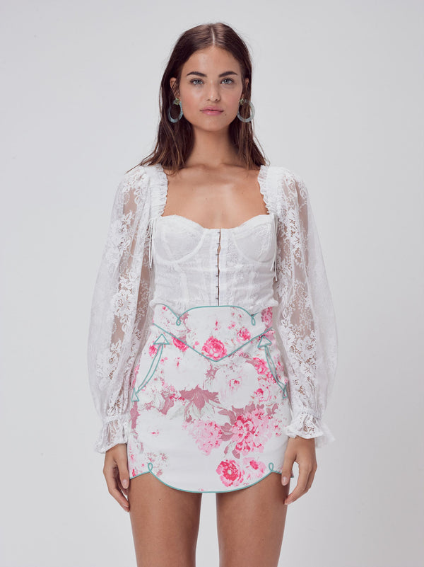 For Love & Lemons - Cheyenne Lace Bustier Top - Ivory Lace