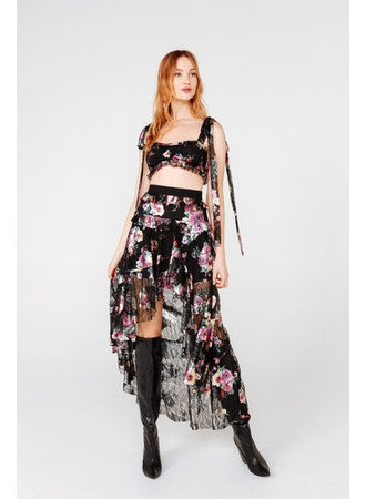 For Love & Lemons - Benatar Tiered Ruffle Maxi Skirt - Foil Floral