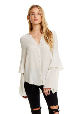 Chaser - Silk Peplum Button Up Shirt - Bone