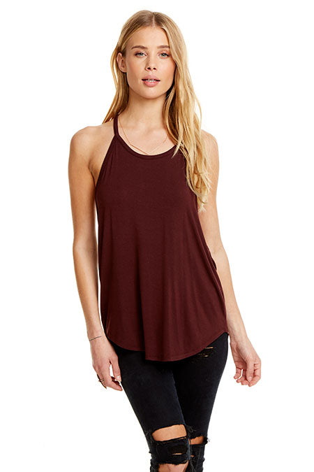 Chaser - High Neck Criss Cross Cami - Mulberry
