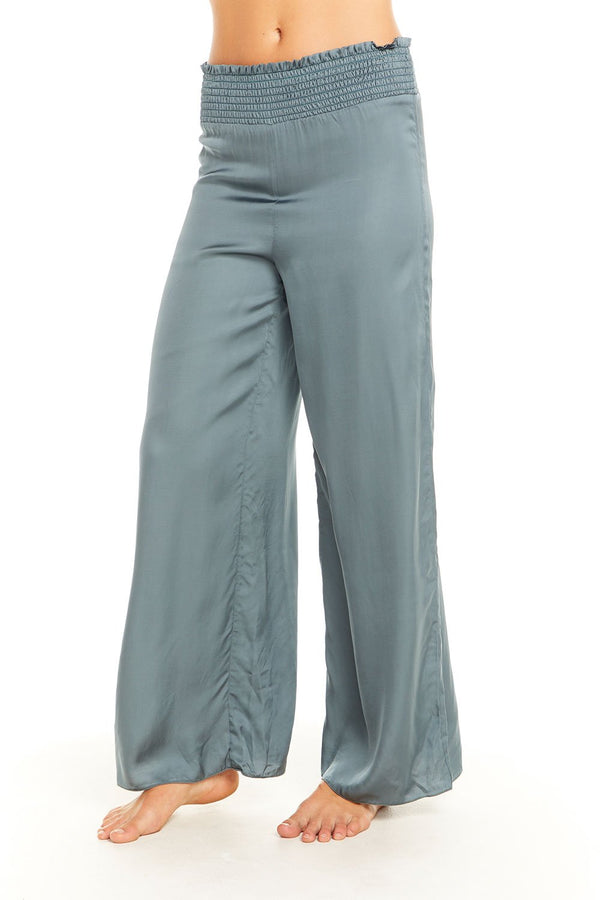 Chaser - Silky Smocked Waist Wide Leg Pant - Succulent