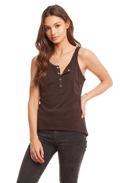 Chaser - Henley Layering Tank - Vintage Black