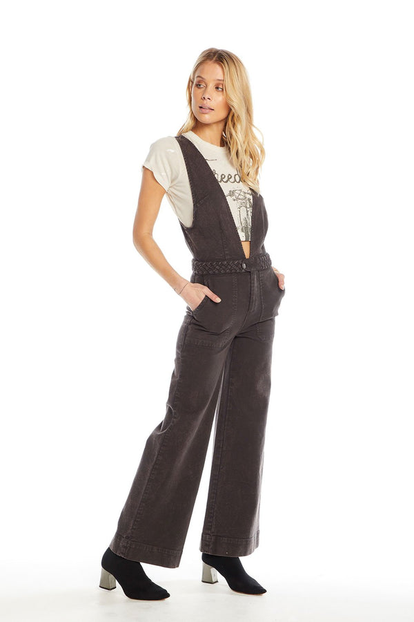 Chaser - Vintage Wide Leg Jumpsuit - Black
