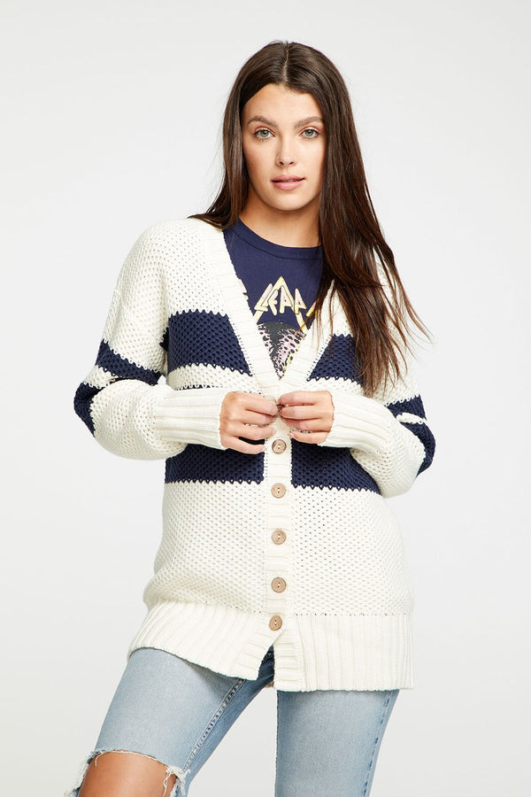 CHASER - THICK KNIT BUTTON DOWN GRANDPA CARDIGAN - Navy/Cream Stripe