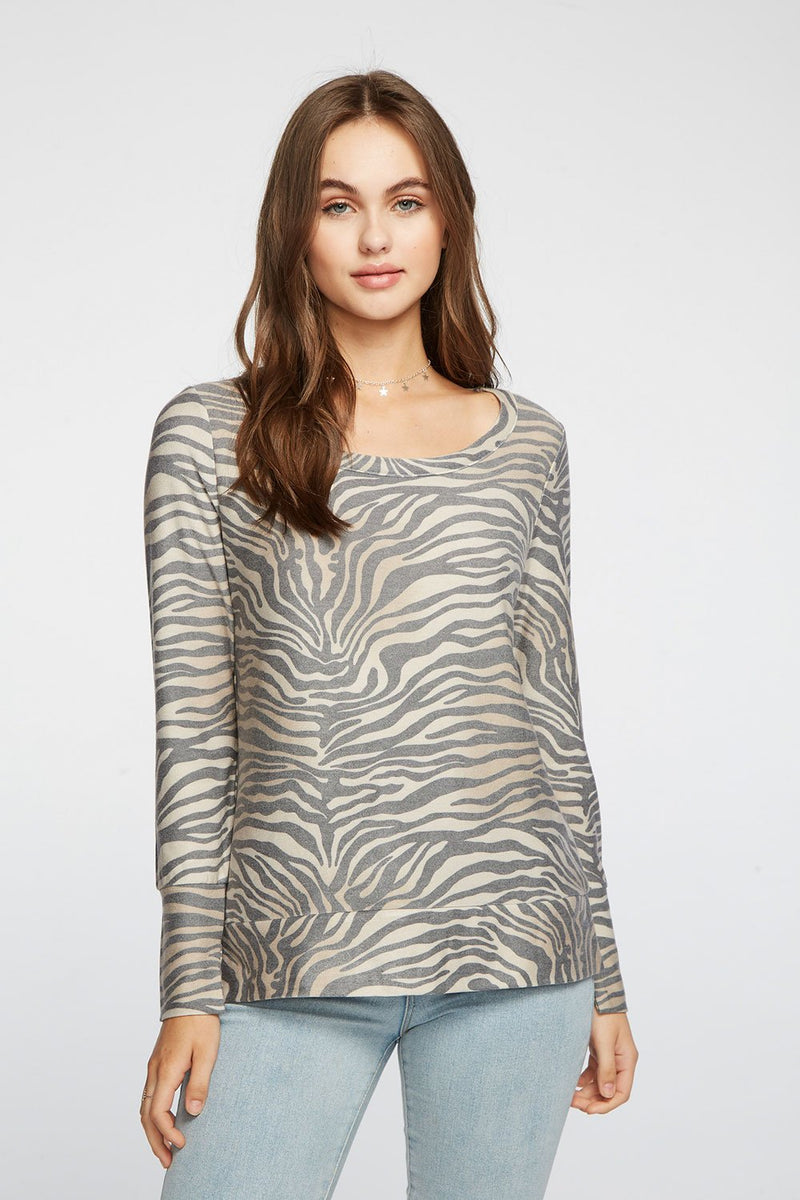 CHASER - COZY KNIT LONG SLEEVE SPLIT CUFF PULLOVER - ZEBRA PRINT