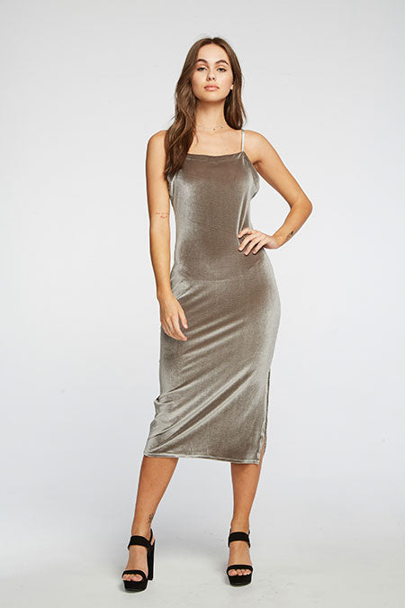 CHASER - STRETCH VELVET V BACK MIDI CAMI DRESS - SILVER
