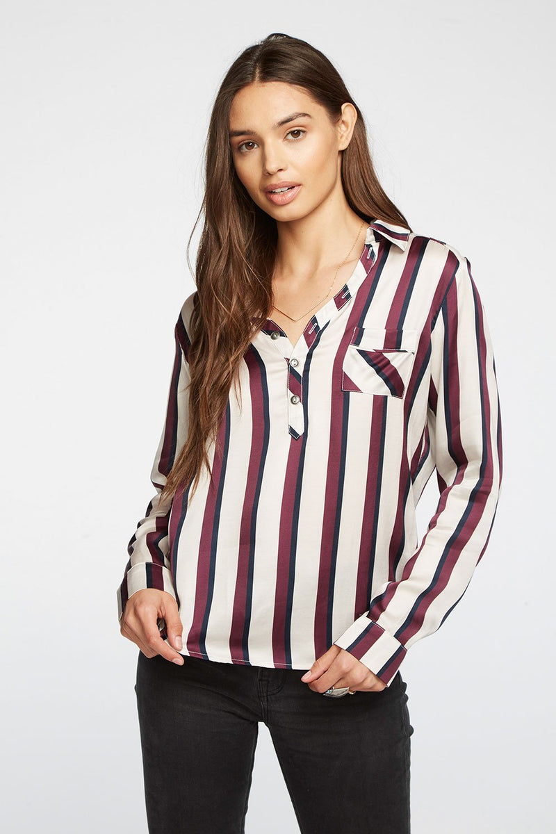 CHASER - SILKY BASICS HENLEY SHIRT - FIG/OXFORD STRIPE