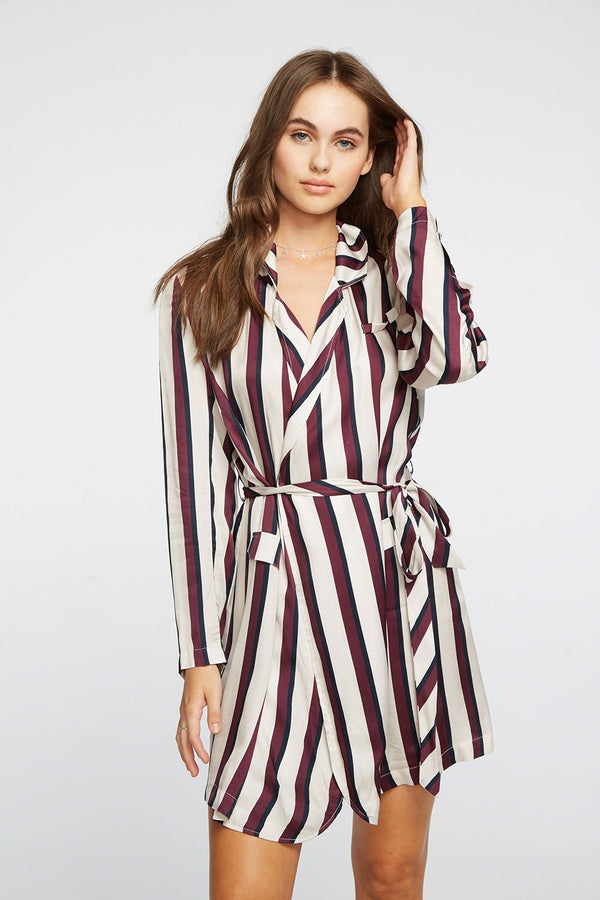 CHASER - SILKY BASICS BLAZER MINI DRESS - OXFORD/FIG STRIPE