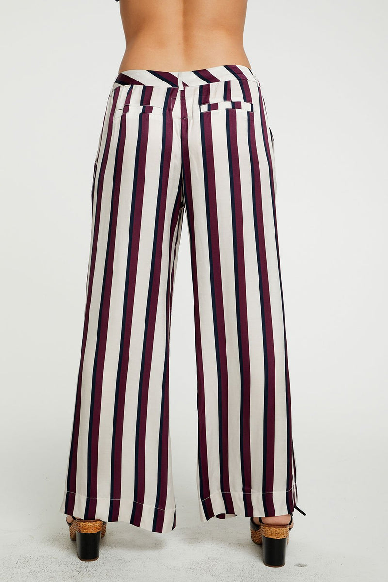 CHASER - SILKY BASICS WIDE LEG TROUSER -FIG/OXFORD STRIPE