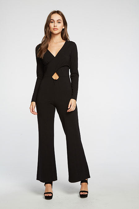 CHASER - QUADRABLEND VENTED CROSSOVER L/S WIDE LEG JUMPSUIT - TRUE BLACK