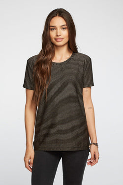CHASER - METALLIC STRIPE SHORT SLEEVE CREW NECK EASY TEE - BLACK/GOLD