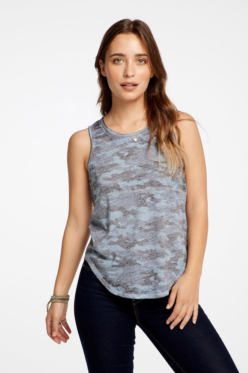 Chaser - SEAMED SHIRTTAIL MUSCLE TANK - Camo