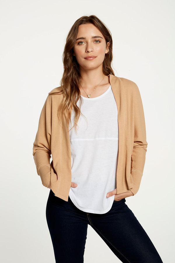 Chaser - COZY RIB DROP SHOULDER OPEN CARDIGAN - Tea Latte