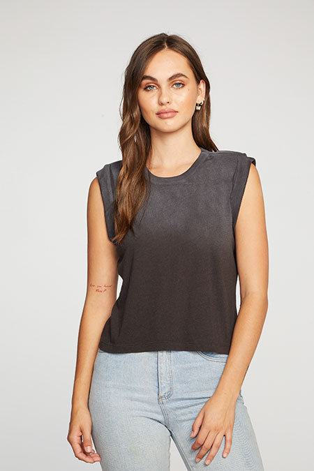 Chaser - Cloud Jersey Bold Shoulder Rolled Cropped Muscle Tank