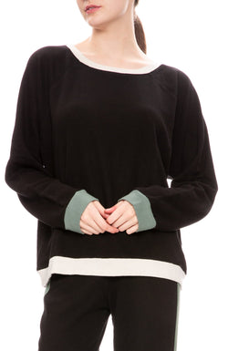 MONROW - Colorblock Oversized Raglan - Black