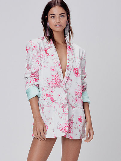 For Love & Lemons - Weston Denim Blazer - Pink Floral