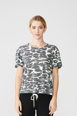 Monrow - Animal Camo Loft Crew Tee - Evergreen